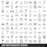 100 restaurant icons set, outline style Royalty Free Stock Photos