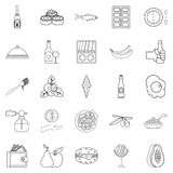 Restaurant icons set, outline style. Restaurant icons set. Outline set of 25 restaurant vector icons for web isolated on white background Royalty Free Stock Photography