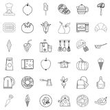 Restaurant icons set, outline style. Restaurant icons set. Outline style of 36 restaurant vector icons for web isolated on white background Stock Photos