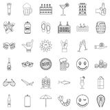 Restaurant icons set, outline style Royalty Free Stock Photography