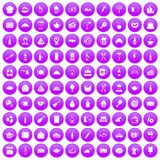 100 restaurant icons set purple. 100 restaurant icons set in purple circle isolated on white vector illustration Royalty Free Illustration