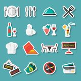Restaurant icons stickers Royalty Free Stock Photo