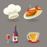 Restaurant Icons and Symbols Set Retro Cartoon Design Vector Illustration Stock Image