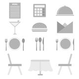 Restaurant icons on white background Royalty Free Stock Photos