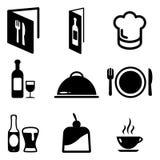 Restaurant-Ikonen Lizenzfreies Stockbild