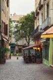 Restaurant In The Historic Center Of Aubenas In France Stock Photo