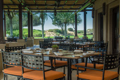 Restaurant interier with tables chairs and set up at desert resort Stock Photo