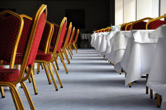 Restaurant interior. Row of tables and chairs at a restaurant Stock Photo