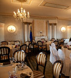 Restaurant interior. With striped chairs Stock Photo