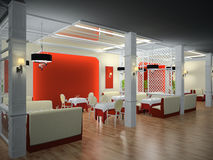 Restaurant interior 3D Royalty Free Stock Photo