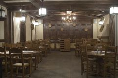 Restaurant interior. Stylised in country style Stock Photos