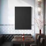 Restaurant interior with black canvas on a wall. 3d rendering Stock Photos