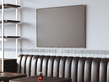 Restaurant interior with canvas on a gray wall. 3d rendering. Bright restaurant interior with black canvas on a gray wall. 3d rendering stock illustration
