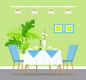 Restaurant Interior Design, Table Dinner Setting. Table with dinner setting, restaurant interior design vector. Wine and glasses, plates and bowls, flowers in vector illustration