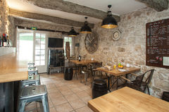 Restaurant. Interior of French bistro with rustic furniture Royalty Free Stock Photography