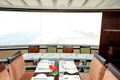 Restaurant Interior of the luxury hotel with a view on Dubai Stock Image