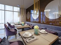 Restaurant interior, part of a hotel, wall with round mirrors. 3d rendering vector illustration