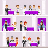 Restaurant interior with people, resting, people order food, waiters bring dishes, men and women eat. Infographic elements. The interior design of the Royalty Free Stock Photography