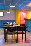 Restaurant interior in pop art style. Restaurant interior with tiled walls, pop art style royalty free stock image