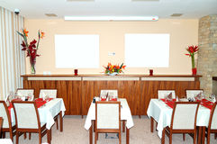 Restaurant interior at popular hotel, Strbske Pleso ski resort Stock Photo
