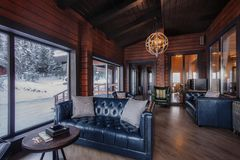 Restaurant interior. Royal Restaurant interior in wooden style royalty free stock images