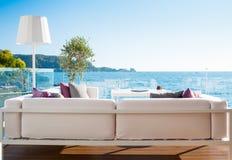 Restaurant interior with scenic sea view Stock Image