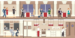 Restaurant interior set. Royalty Free Stock Images