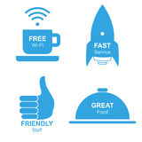 Restaurant Isolated Informational Stickers Set, Vector Illustration Royalty Free Stock Photos