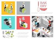 Restaurant isométrique faisant cuire le calibre d'Infographic illustration de vecteur