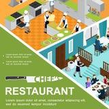 Restaurant isométrique faisant cuire le concept illustration libre de droits
