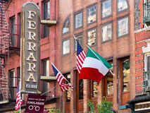 Restaurant and italian flags at little Italy in New York City Royalty Free Stock Image
