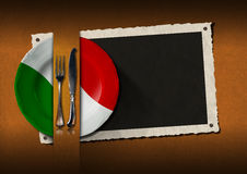 Restaurant Italy Menu with Photo Frame Stock Images