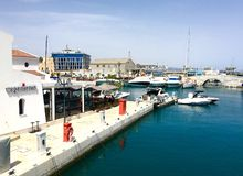 Restaurant am Jachthafen Limassol Stockbilder