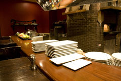 Restaurant kichen counter plates Stock Photos