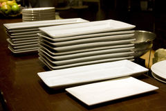 Restaurant kichen counter plates Royalty Free Stock Photos