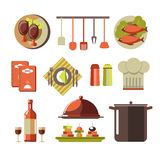 Restaurant kitchen elements colorful set isolated on white. Vector collection in flat design of tasty meat and fish dishes, menu books, high pot, chef hat Royalty Free Stock Photography