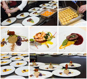 Restaurant kitchen food collage Royalty Free Stock Photos