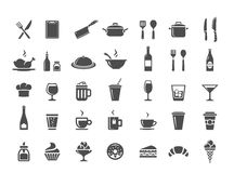Restaurant kitchen icons Royalty Free Stock Photo
