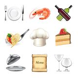 Restaurant and kitchen icons vector set Royalty Free Stock Photography