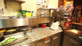 Restaurant kitchen interior stock video footage