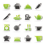 Restaurant and kitchen items icons Royalty Free Stock Photos