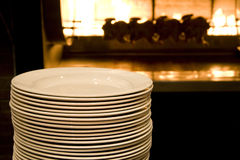 Restaurant kitchen plates stove Royalty Free Stock Photography