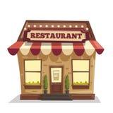 Restaurant of Koffie De buitenbouw Vector beeldverhaalillustratie Stock Afbeeldingen