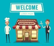 Restaurant of Koffie De buitenbouw Vector beeldverhaalillustratie Royalty-vrije Stock Afbeelding
