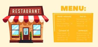 Restaurant of Koffie De buitenbouw Vector beeldverhaalillustratie Stock Foto