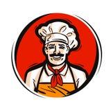 Restaurant, koffie vectorembleem vers voedsel, het koken, menu of chef-kokpictogram Stock Afbeelding