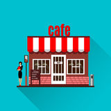 Restaurant of koffieillustratie in vlakke stijl Vector stock illustratie