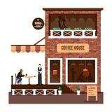 Restaurant of koffieillustratie in vlakke stijl Vector Stock Foto's