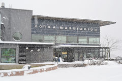 Restaurant in Kotka at winter. Royalty Free Stock Photography