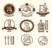 Restaurant label sketch Stock Image